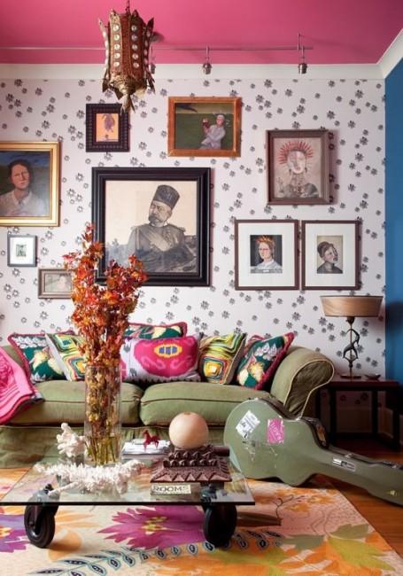 Bohem Tarz Modern Salon Dekorasyonu