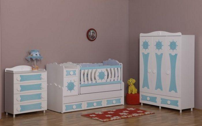 Açık Mavi Bebek Beşiği Modelleri