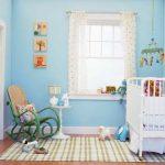 Açık mavi bebek odası dekorasyonu
