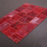 Kırmızı Renkli Patchwork Halı Modeli