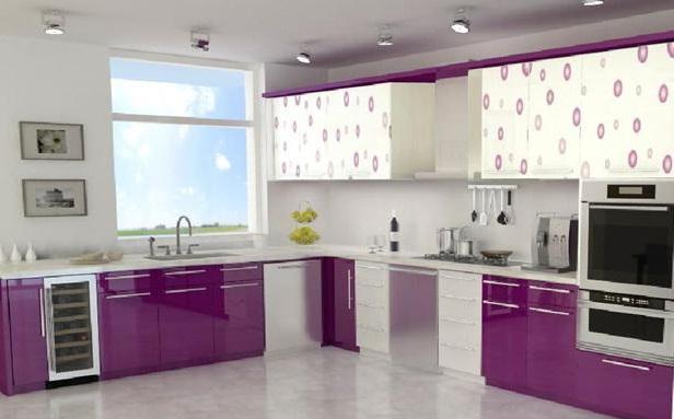 Mor Renk Mutfak Dolabı Modeli