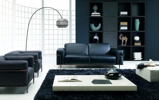 Siyah ve beyaz temalı salon dekorasyonu