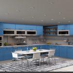 Büyük mutfaklar için mavi renk dekorasyonu