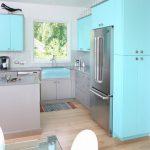 Küçük mutfaklar için mavi renk dekorasyonu