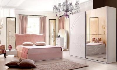 Modern Pudra Yatak Odası Dekorasyonu