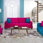 Canlı renklerde salon mobilyası
