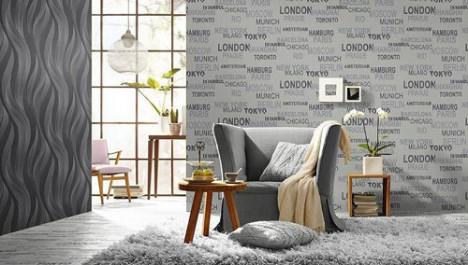 Yazılı salon duvar kağıdı modelleri