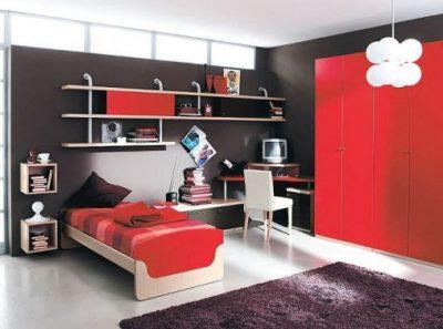 Kırmızı Genç Odası Dekorasyonu Örnekleri