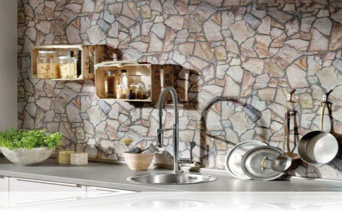 Taş Duvar Görünümlü Silinebilir Mutfak Duvar Kağıdı Modelleri