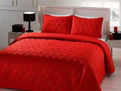 Kırmızı Çift Kişilik Yatak Örtüsü Modelleri