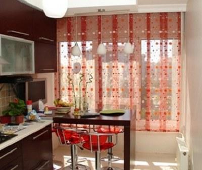 Kırmızı Mutfak Tül Perde Modelleri