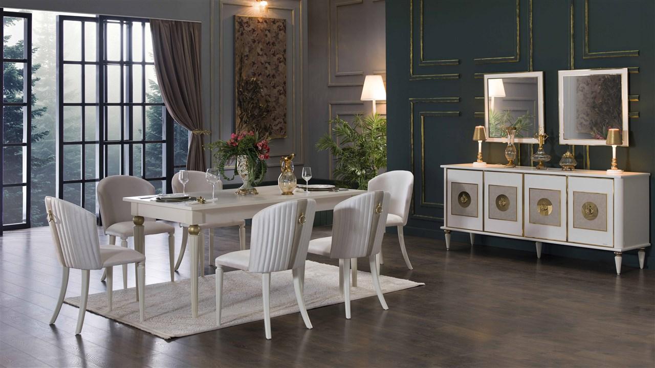 Bellona mistral beyaz yemek odası takımı