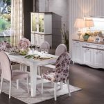 Bellona venturo çiçek desenli beyaz yemek odası takımı
