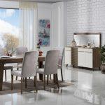 Bellona violet beyaz kahverengi model yemek odası takımı