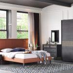 Enza koyu meşe yatak odası dekorasyonu marengo