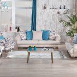 Kilim mobilya mavi krem koltuk takımı modelleri