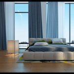 Modern mavi yatak odası dekorasyonu