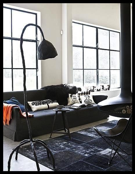 Siyah oturma odası dizaynı