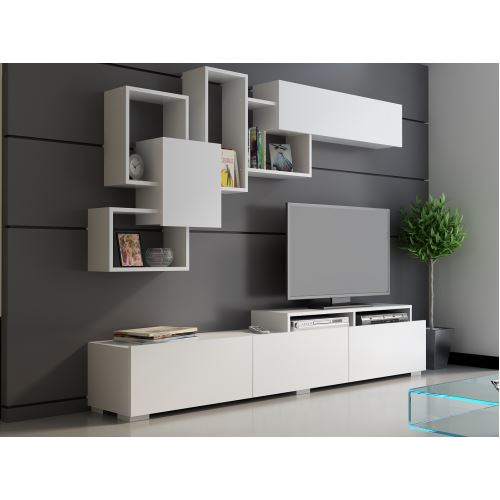 Tekzen modern beyaz tv ünitesi