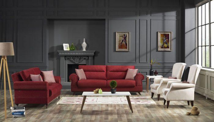 İpek mobilya kırmızı beyaz koltuk takımı baltimore