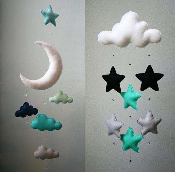 Bebek odası ay yıldız gece temalı duvar süsü