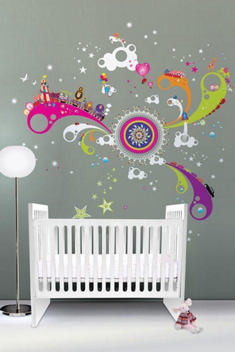 Bebek odası renkli duvar süsü
