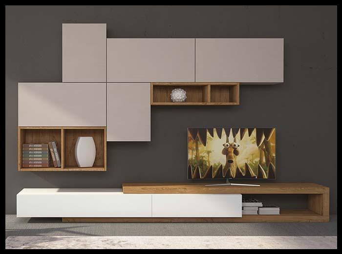 Beyaz ahşap tv ünitesi tasarımı