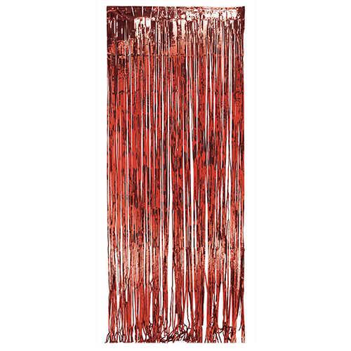 Kırmızı folyo kapı perdesi