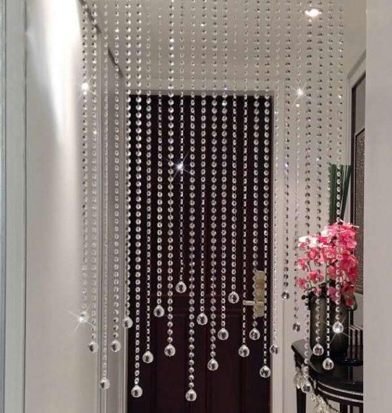 Şeffaf boncuklu kapı perdesi