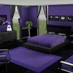 Koyu mor yatak odasi dekorasyonu