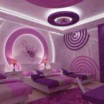 Ledli mor yatak odasi dekorasyonu