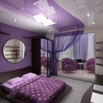 Mor renk yatak odasi dekorasyonu