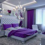 Sade mor yatak odası modelleri