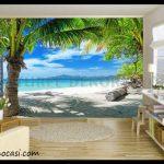 Tropikal 3d salon duvar kağıdı